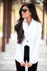 White Scarf White Blazer 1 200x300 - Scarves: What's Hot this Spring