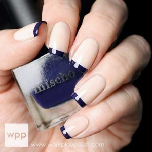 2 Navy Blue French Tip Nails  300x300 - Nail Art Ideas to Recreate for Summer