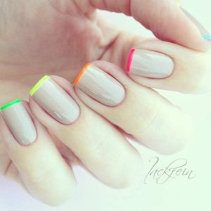 20 Neon Colored French Tips 300x300 - Nail Art Ideas to Recreate for Summer