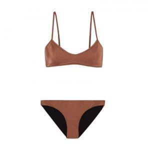 Shiny nude swimsuit