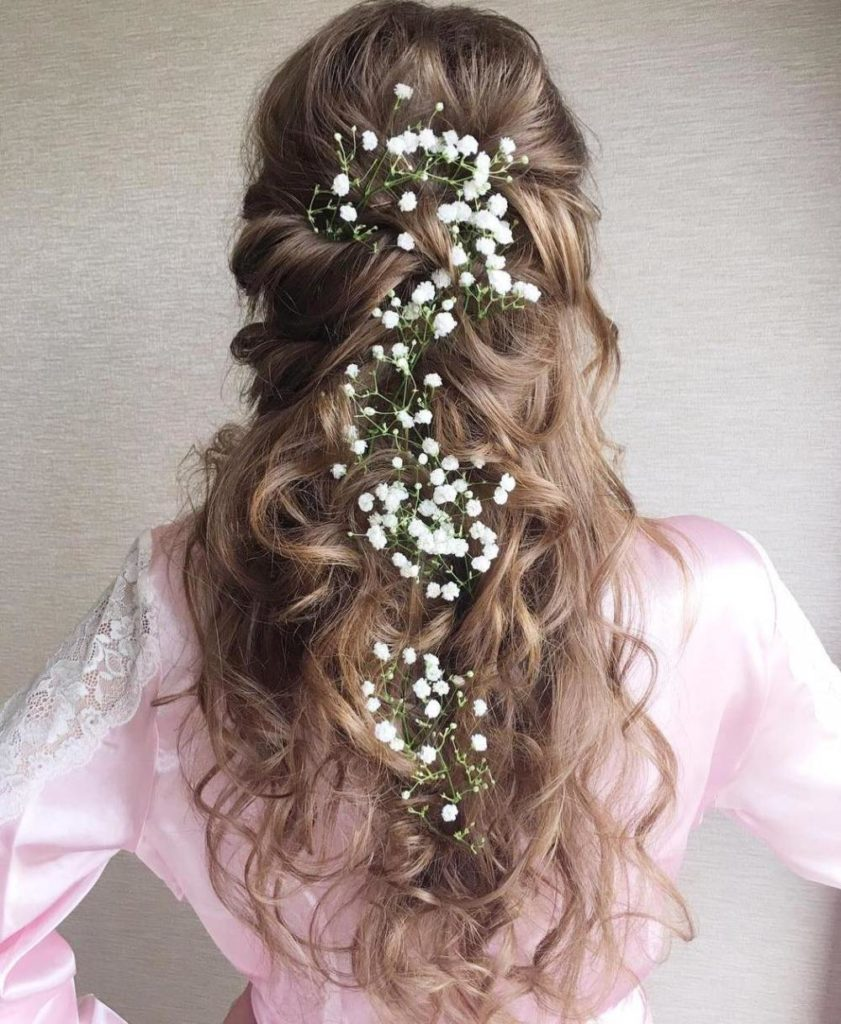 9 curly bridal half updo for long hair 841x1024 - A Vintage Valentine